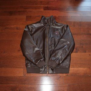 COZY FAUX LEATHER STERLING BOMBER JACKET